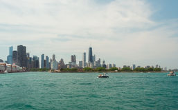 Chicago Downtown skyline view from a boat. Chicago  downtown  usa  illinois  city  town  windycity  чикаго  сша  travel  skyline  michiganlake  lake Stock Photos