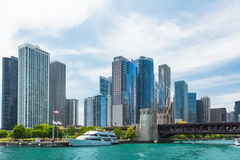 Chicago Downtown skyline view from a boat. Chicago  downtown  usa  illinois  city  town  windycity  чикаго  сша  travel  skyline  michiganlake  lake Stock Photography