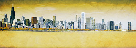 Chicago Downtown Vintage royalty free illustration