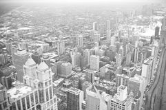 Chicago downtown - vintage-style photo. Chicago downtown area - vintage style black and white photo Stock Photo