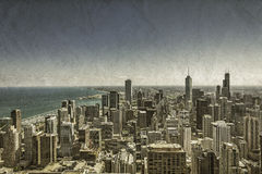 Chicago Downtown vintage view. Chicago Downtown vintage aerial view Royalty Free Stock Photo