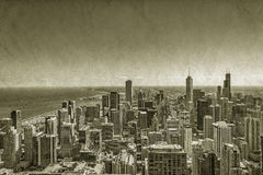 Chicago Downtown vintage view. Chicago Downtown vintage aerial view Royalty Free Stock Image