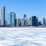 Chicago downtown in winter Royalty Free Stock Photos