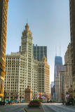 Chicago downtown with the Wrigley building Royalty Free Stock Photos
