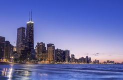 Chicago by dusk stock photography