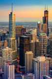 Chicago Dusk. Sunset in Chicago with skyscrapers Royalty Free Stock Photos