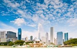Chicago e fontana Fotografia Stock Libera da Diritti