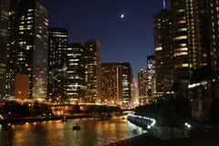 Chicago en la noche 3 Foto de archivo libre de regalías