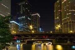 Chicago entro la notte Immagine Stock