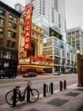 Chicago Förenta staterna - symbolisk Chicago teater i Chicago, Förenta staterna royaltyfria foton