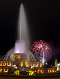 Chicago Famous Fountain and Fireworks stock images