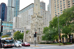 Chicago famous Water Tower and street view Royalty Free Stock Image