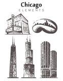 Chicago fijó horizonte del bosquejo Ejemplo exhausto del vector de la mano de Illinois, Chicago stock de ilustración