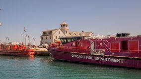 Chicago Fire Department vessels on Chicago River - CHICAGO, USA - JUNE 12, 2019. Chicago Fire Department vessels on Chicago River - CHICAGO, ILLINOIS - JUNE 12 royalty free stock photography