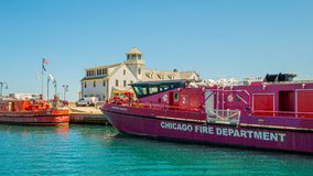 Chicago Fire Department vessels on Chicago River - CHICAGO, USA - JUNE 12, 2019. Chicago Fire Department vessels on Chicago River - CHICAGO, ILLINOIS - JUNE 12 royalty free stock photo