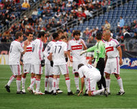 2009 Chicago Fire. Chicago Fire gather together before the start of a playoff game against the New England Revolution on November 1, 2009 in Foxboro, MA stock photography