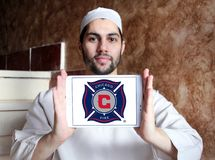 Chicago Fire Soccer Club logo. Logo of Chicago Fire Soccer Club on samsung tablet holded by arab muslim man. Chicago Fire Soccer Club is an American professional Royalty Free Stock Image
