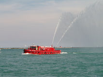 Chicago Fireboat. In harbor spraying hoses into the air Royalty Free Stock Photos