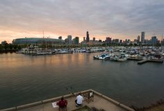 chicago fishing view στοκ φωτογραφία με δικαίωμα ελεύθερης χρήσης