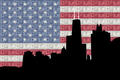 Chicago with flag Royalty Free Stock Photography