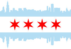 Chicago flag. City of Chicago flag with high rise buildings skyline Royalty Free Stock Photography