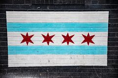 Free Chicago Flag Painted On Black Bricks Royalty Free Stock Photo - 181683945