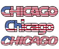 Chicago flag text with overlapping letters illustration Stock Photo