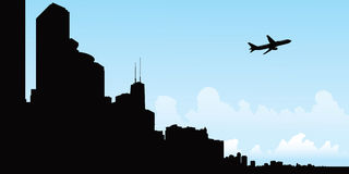 Chicago Flight Silhouette Stock Image