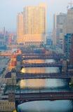 chicago flodsoluppgång Royaltyfri Bild