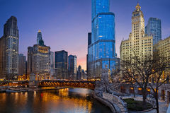 Chicago-Flussufer. stockfotografie