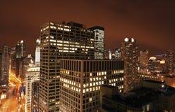 Chicago från Michigan avenybyggnad Arkivfoton