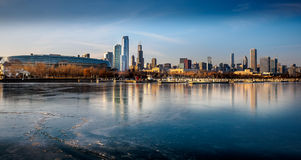 Chicago frozen flotsam.  Lake Michigan waterfront. Royalty Free Stock Photos