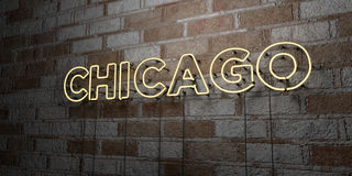 CHICAGO - Glowing Neon Sign on stonework wall - 3D rendered royalty free stock illustration Royalty Free Stock Photos