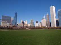 Chicago Grant Park. Chicago's Grant Park with its bright grass and towering skyline backdrop Royalty Free Stock Images