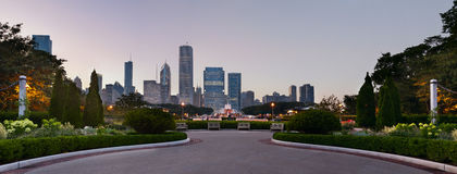 Chicago Grant Park. Panoramic image of Grant Park Chicago with Buckingham Fountain in the middle stock image