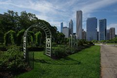 Chicago Grant Park en stadshorizon royalty-vrije stock afbeeldingen