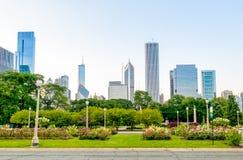 Chicago Grant Park med skyskrapor i bakgrund, USA Arkivfoto
