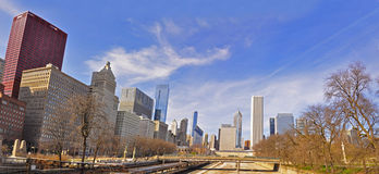 Chicago Grant Park Panorama. Chicago Grant Park and Michigan Avenue Royalty Free Stock Photo