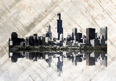 chicago grungehorisont vektor illustrationer