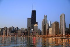 chicago gryninghorisont Royaltyfria Bilder