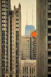Chicago-Hancock- und Tribüne-Gebäude durch Sonnenaufgang Stockfotografie