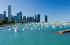 Chicago Harbor. Shoreline of Lake Michigan in downtown Chicago, Illinois Royalty Free Stock Image