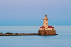 Chicago Harbor Light. Image of the Chicago lighthouse at sunset stock images