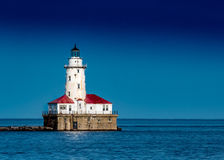 Chicago Harbor Light Clear Blue Sky Stock Images