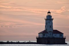 Chicago Harbor Lighthouse in Dawn's Early Light Royalty Free Stock Image