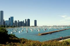 Chicago Harbor and Navy Pier. Shoreline of Lake Michigan in downtown Chicago, Illinois Royalty Free Stock Photo