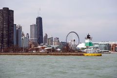 Chicago Harbor Southeast Guidewall Lighthouse Royalty Free Stock Photos