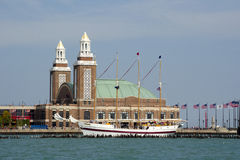 Chicago  harbor and tall ship at navy pier Stock Image