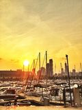Chicago Harbors. Sunset over Chicago royalty free stock photo