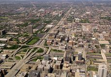 Chicago Highway and Interchange. Aerial view of highway interchange in Chicago, Illinois (290 & 90/94 stock photography